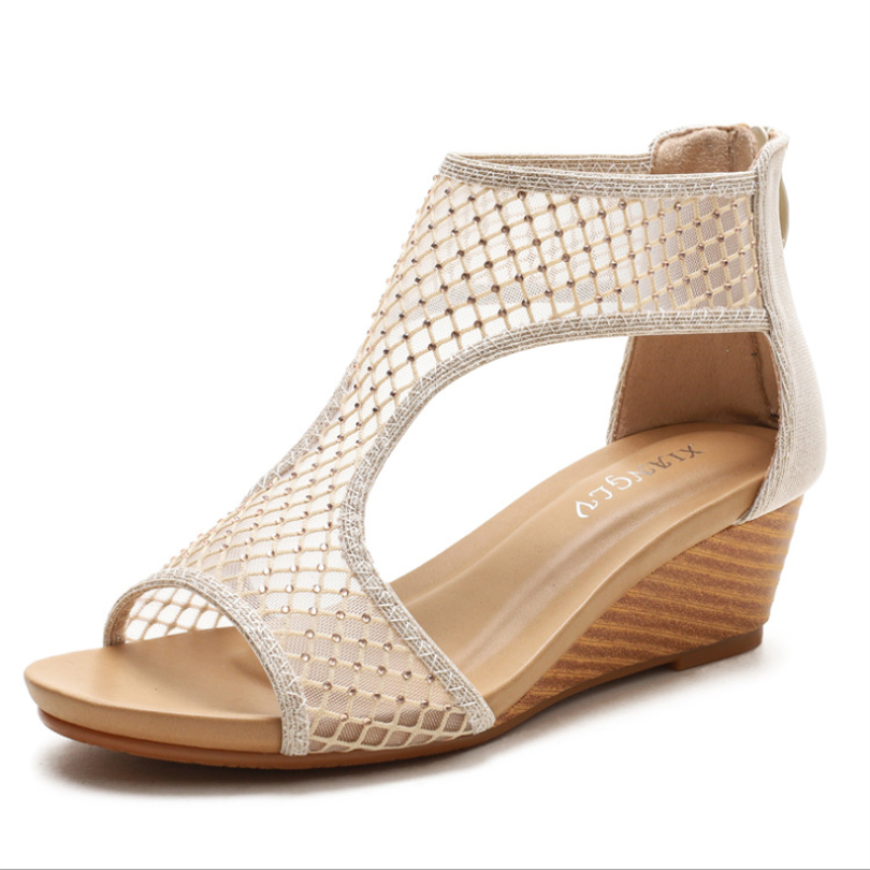 2021 New Sandals Summer All-match Comfortable Casual Fashion Atmosphere Mesh Women's Shoes Thick-sol