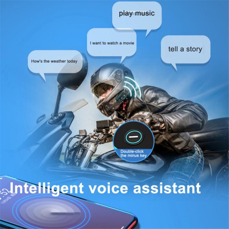 Motorcycle Bluetooth-compatible Intercom Cool Led Helmet Intercom Riders Wireless Waterproof Interphone Headsets enlarge