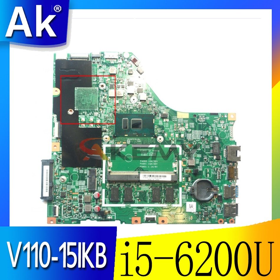 Akemy لينوفو V110-15ISK اللوحة الأم للكمبيوتر المحمول V110-15IKB 15277-1N 448.08B01.001N CPU i5-6200U RAM 4GB اختبار 100% العمل