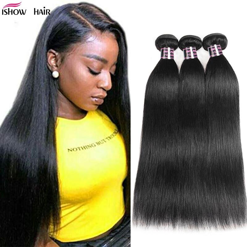 Ishow Hair Peruvian Straight Hair Weave Bundles Human Hair Extensions Double Weft Hair Bundles Non-Remy 1 Piece Bundles Deal