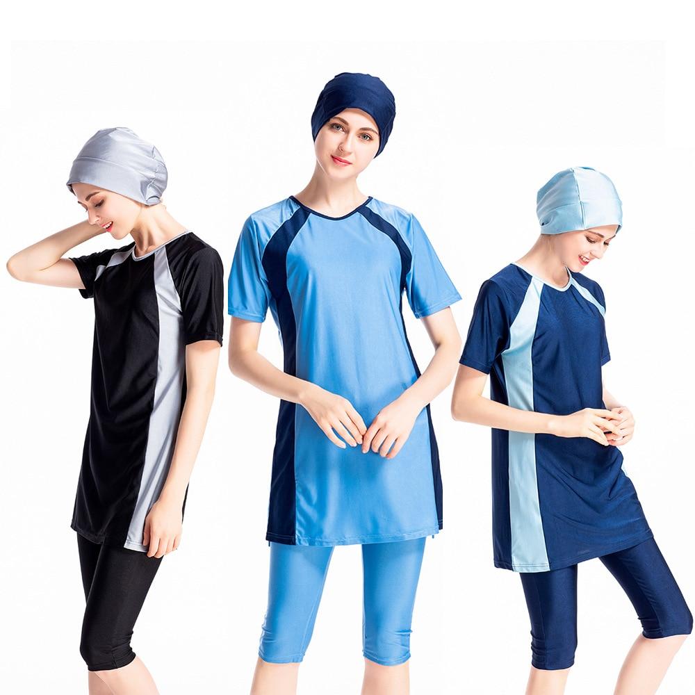 HYRAX Muslim Swimsuit Long Sleeve plus size swimwear women Burkini Swimming Muslim Swimwear