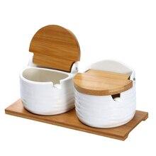 Sucrier en céramique avec couvercles et cuillères   Récipient à condiments en porcelaine, pot à épices, cave à sel pour la cuisine, avec étiquettes de tableau