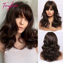 TINY LANA-Peluca de cabello sintético para mujeres negras, cabellera Natural ondulado con flequillo, color marrón degradado, fibra resistente al calor, para Cosplay