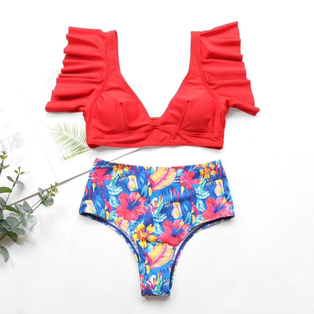 2020 New Bikini set Swimwear Flounced Bikini Bathing Suit Swimsuit High-waisted Printed Shirred Bikini Women with Ruffle self tie ruffle bikini set