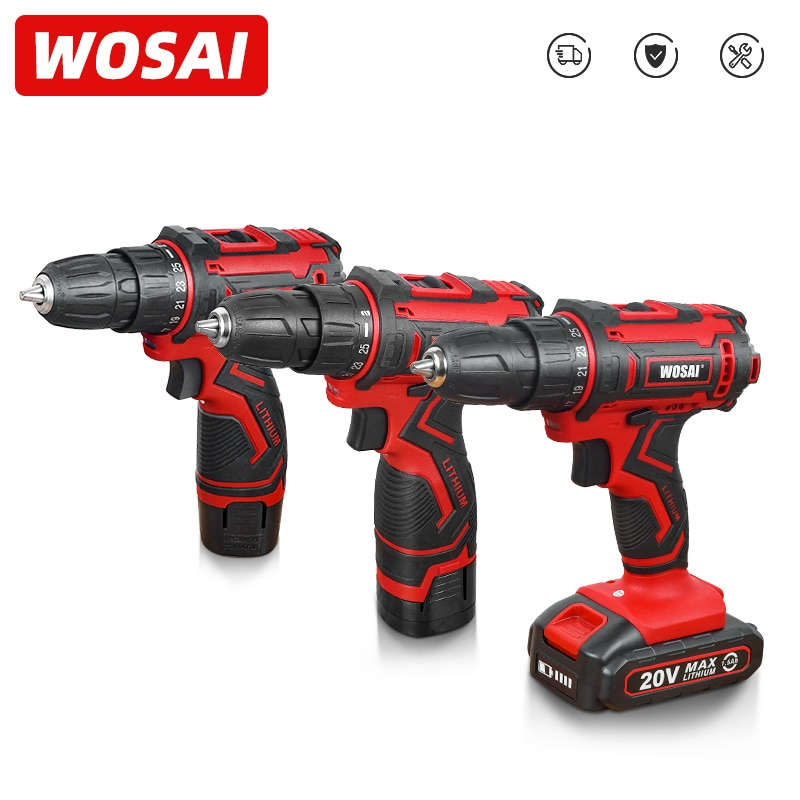 WOSAI 12V 16V 20V Cordless Drill Electric Screwdriver Mini Wireless Power Driver DC Lithium-Ion Batt