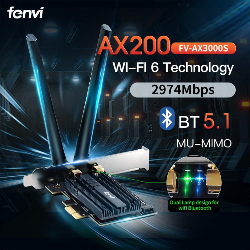 3000Mbps Dual Band Wireless Computer PCIe For Intel AX200 Card 802.11ax 2.4G/5Ghz Bluetooth 5.1 Wi-Fi 6 AX200NGW M.2 Desktop Kit