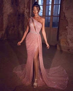 Sexy Vestidos De Formature One Shoulder Sleeveless High Slit Coral Mermaid Prom Dresses