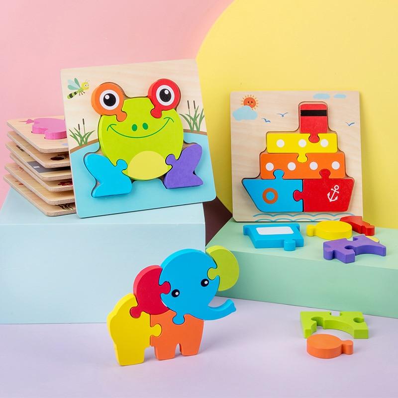 Пазлы деревянные для детей, детская развивающая игрушка 3D с животным и дорожным движением, безопасный Гладкий пазл-головоломка
