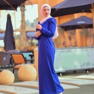 New Arrival Royal Blue Long sleeve Evening dresses 2021 Muslim dress women High Neck Evening gowns Robe de soirée femme
