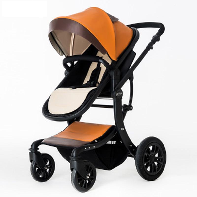 Cochecito de beb de alta visin de cama plana de luz plegable de amortiguador de cesta de dormir grande para recià nacido de 0 a 3
