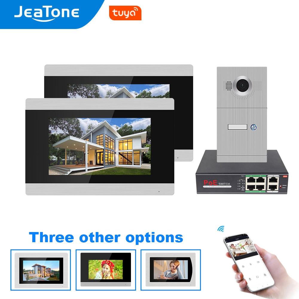 Jeatone WiFi IP Video Door Phone Intercom System Video Doorbell 7'' Touch Screen for Villa/8 Zone Alarm Support Smart Phone