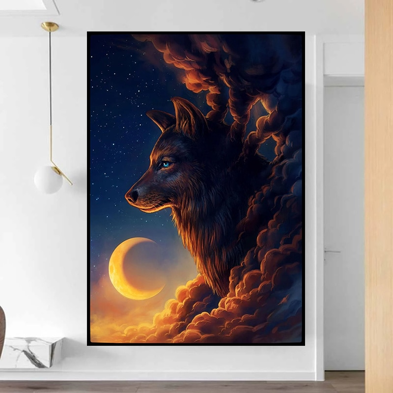 Animal Canvas Art Posters Abstract Wolf Paintings Nordic Wall Prints Modern Pictures for Living Room Home Decor