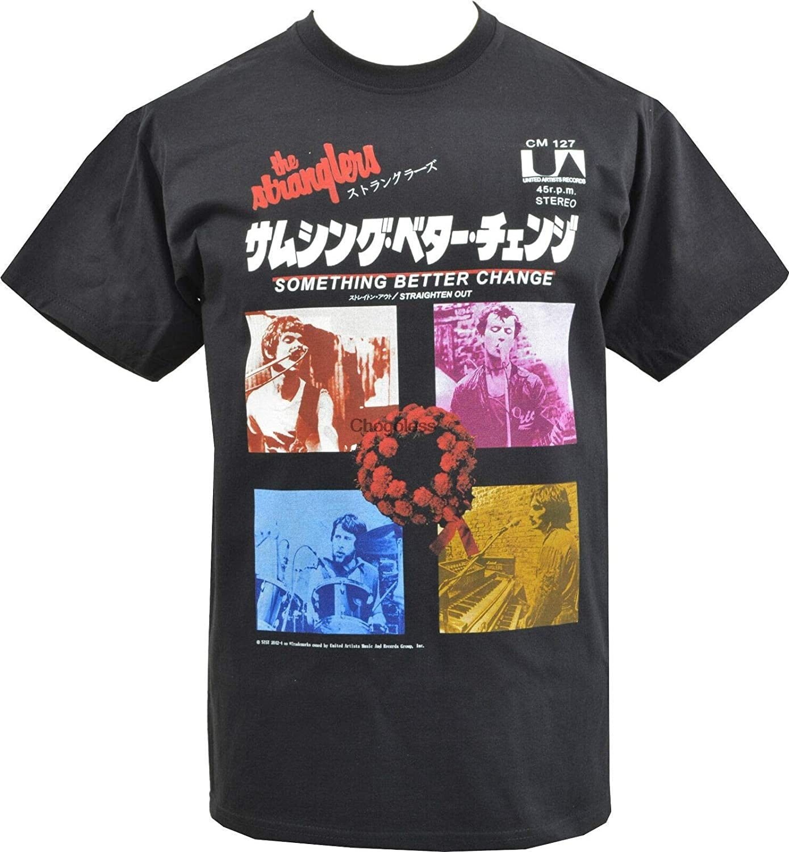 Os stranglers t-shirts frente letras impressas 34 camisetas masculinas