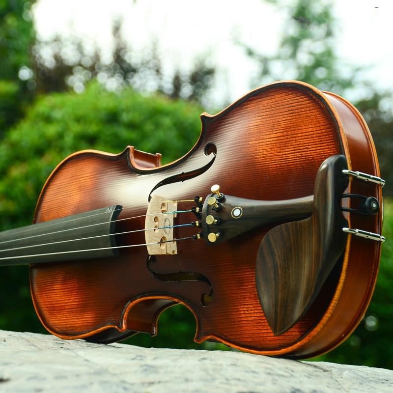 Principiante Viool 4/4 violín de arce 3/4 almohadilla antigua caja de violín hecha a mano colofonia