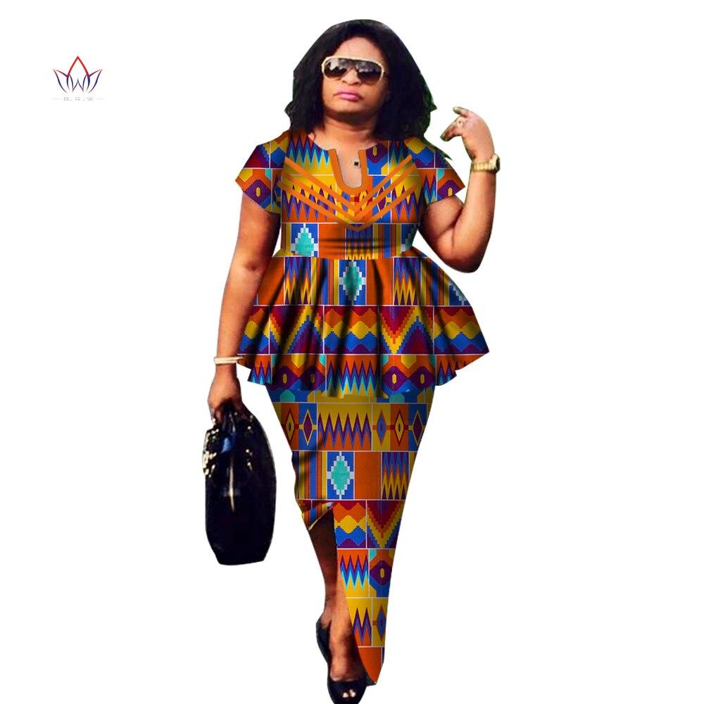 Женский Африканский костюм Дашики, комплект с юбкой с круглым вырезом, базин богатая африканская модная одежда, хлопковая традиционная оде...