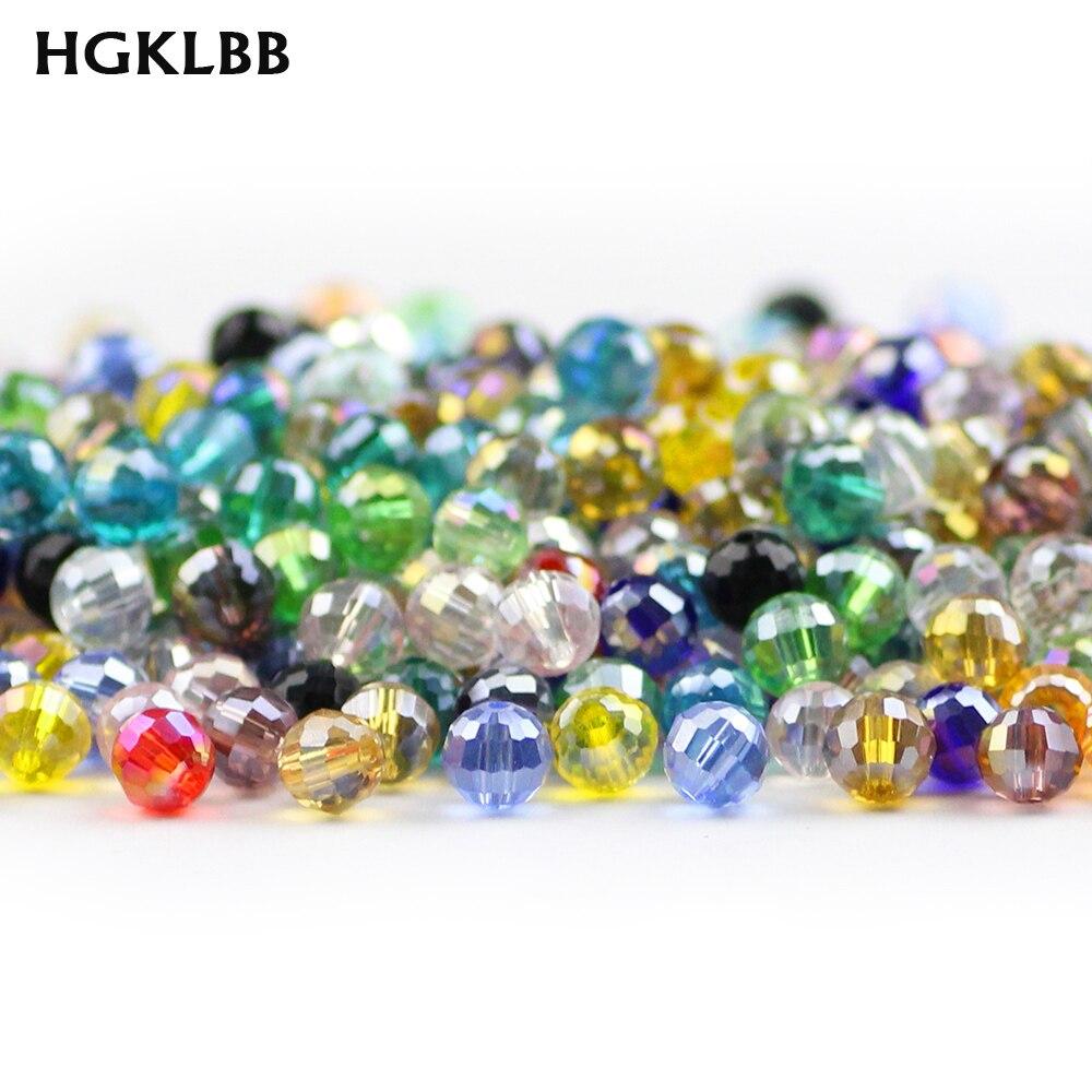 HGKLBB 96 cuentas de cristal austriaco facetadas de bola de 6mm 50 Uds AB color cuenta suelta redonda para la fabricación de joyas, pulsera DIY Accesorios
