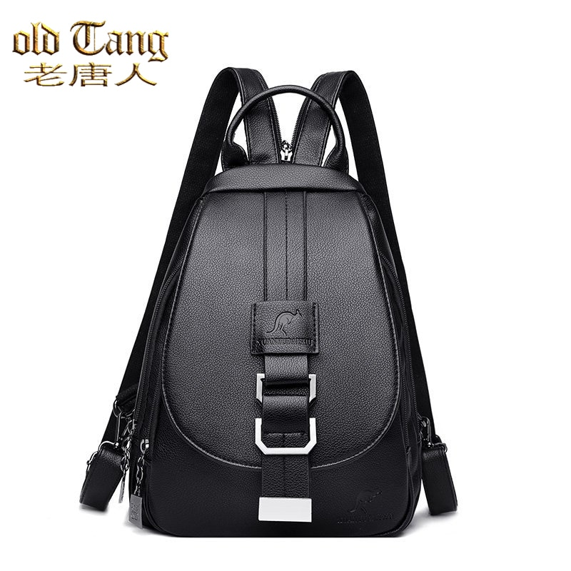 OLD TANG Vintage Casual Genuine Leather Women's Backpacks for Women 2021 New Designer High Quality Leisure School Bag Sac A Dos