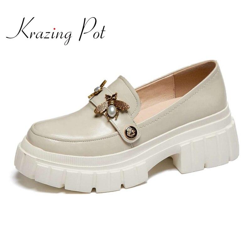 Krazen pot-حذاء نسائي بكعب عالٍ من الجلد الطبيعي بمقدمة دائرية ، مع زخرفة معدنية ، بدون أربطة ، عصري ، لفصل الربيع ، L37