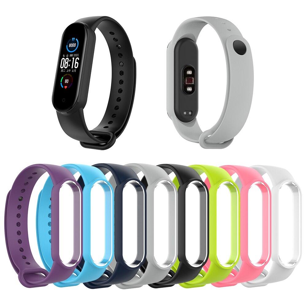 Correa de silicona suave de TPU para Xiaomi Mi Band 5 Mi Band, pulsera para Mi Band 5, correa de recambio para relojes inteligentes