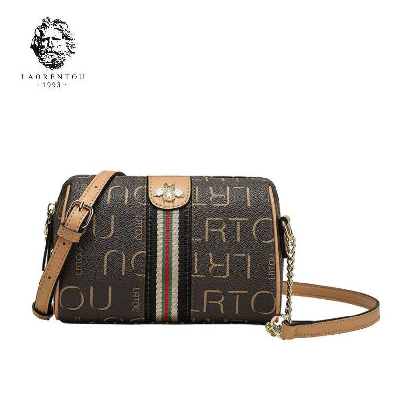 LAORENTOU nouveau sac en cuir pour femme mode PVC avec chaînes en cuir de vachette sac à main pour femme sac à bandoulière en cuir pour femme marron