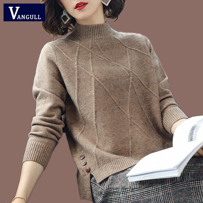 Vangull suéter de punto medio cuello alto de mujer de manga larga suéter suave grueso pulóvers 2019 nuevo sólido Bottoming-shirt