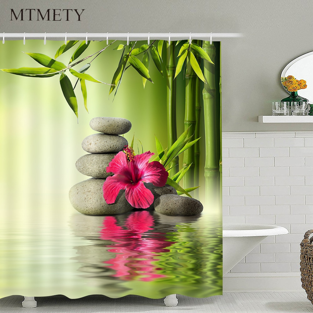 Cortina de ducha moderna con paisaje Natural en 3D, cortina de ducha con ganchos, cortinas de baño de tela impermeables, decoración de cortina de ducha