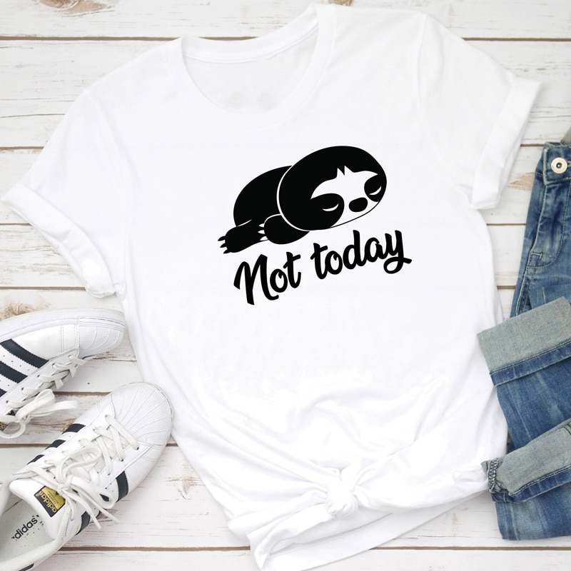 Sarcasm Not Today Sloth T-shirt Cute Lazy Sloth Graphic Tee Shirt Top Funny Women Short Sleeve Tumbl