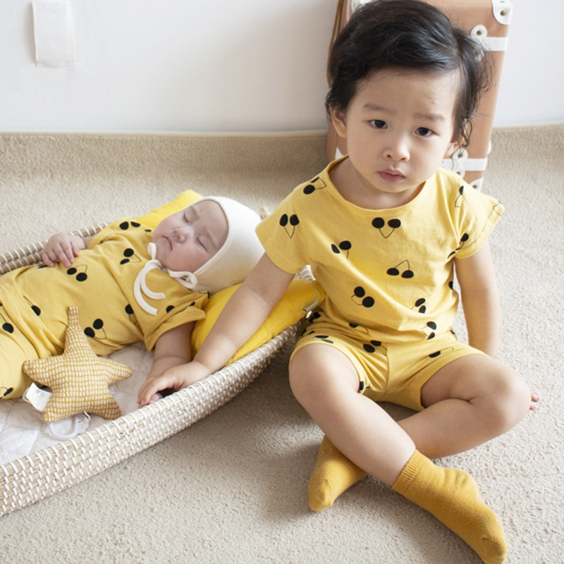 Купить с кэшбэком 2021 Boys Summer Suits Girls Clothing Sets Baby Matching Outfits Children Muslin Clothes Kids Child Clothes Set for Little Boys