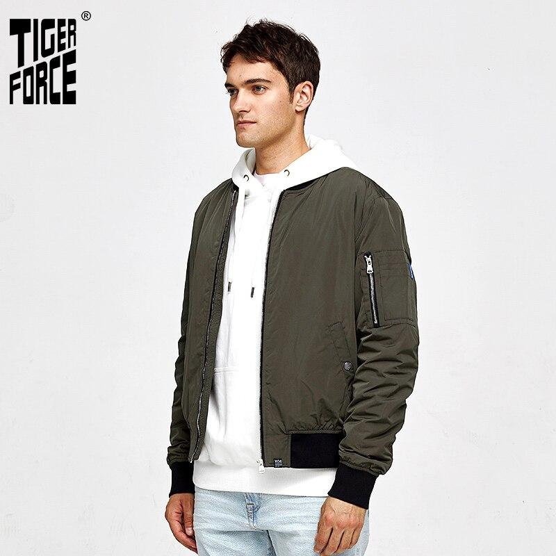 TIGER FORCE 2020 nueva chaqueta de bombardero de primavera para hombres rompevientos abrigo corto de moda para hombres prendas de vestir exteriores Casual Stand collar 50442