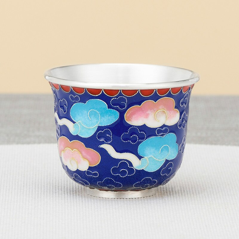 الفضة النقية 999 فنجان شاي اليدوية مصوغة بطريقة سحابة الميمون حفل الشاي الصيني طقم شاي الفضة الاسترليني فنجان شاي