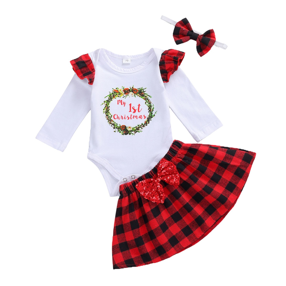 3Pcs Christmas Infant Clothes Suit Baby Girls Long Sleeve Round Collar Letter Romper Plaid Skirt Bow Headwear Baby Xmas Clothes