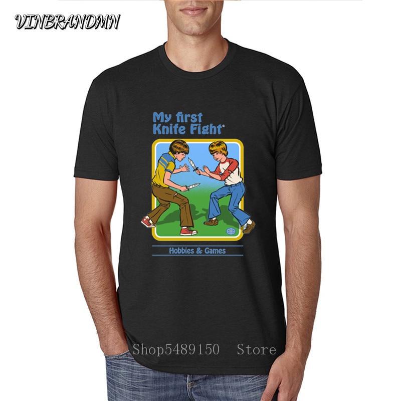 Creative Design man Tshirt My First Knife Fight Baseball retro boy summons demons Asian Size Short Sleeve Male T-shirt Best Gift