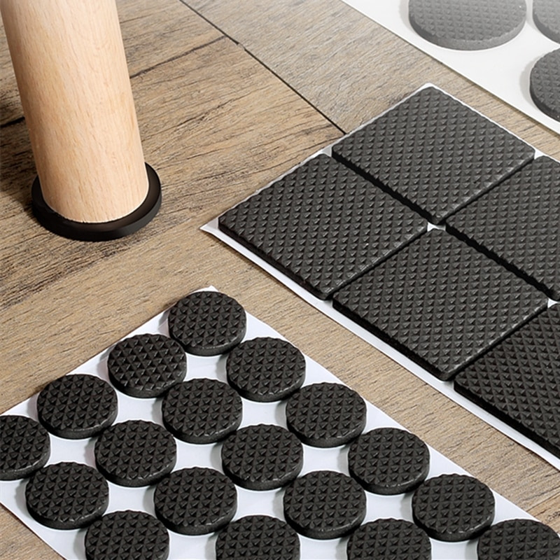 Black Self Adhesive Furniture Leg Rug Anti Scratch Floor Protectors Chair Table Foot Covers Anti Slip Furniture Chair Leg Caps