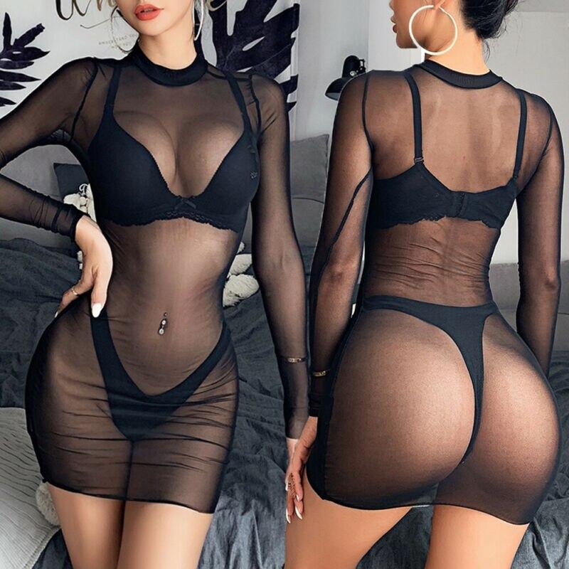 Mujeres Sexy ver a través de malla transparente Bikini cubrir traje de baño Vestido de playa ropa de fiesta