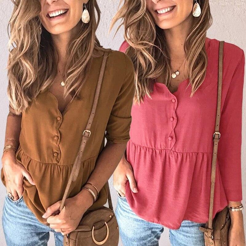Женские Осенние футболки 2020, Женские однотонные топы с v-образным вырезом, футболка с длинным рукавом, женская одежда, футболки, Ropa De Mujer
