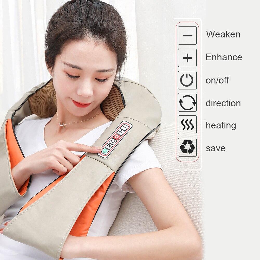 Car/Home U Shape Electrical Massage Shiatsu Back Shoulder Body Neck Massager Multifunctional Shawl Infrared Heated Kneading