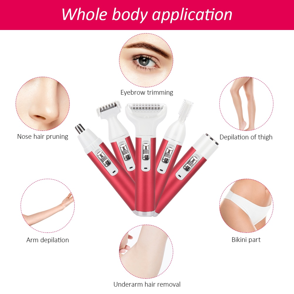 5 in 1 Women Shaver Painless Hair Removal Epilator Shaving Machine Face Beard Eyebrow Nose Trimmer Body Bikini Electric Razor enlarge