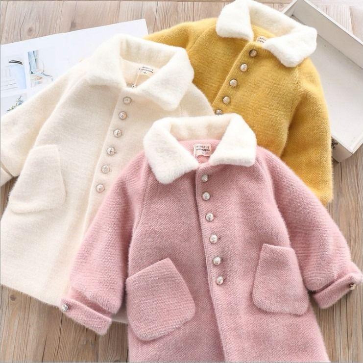معطف بناتي من القطن المخملي السميك 2021 موضة جديدة للأطفال معطف صوفي متوسط الطول بنمط كوري