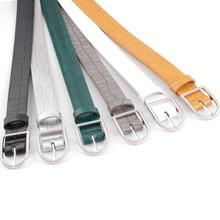 2020 Women's Black White Green Yellow Silver Thin Leather Skin Belt Strap Female Pin Buckle Waist Be