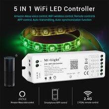 Mi.Light 5 en 1 YL5 controlador WiFi LED MiBoxer controlador inalámbrico WiFi tira soporte teléfono APP Amazon Alexa Control de voz