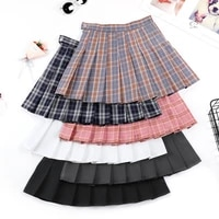 2021 new skirt summer high waist pleated skirt suit material plaid skirt female korean version of the wild a line