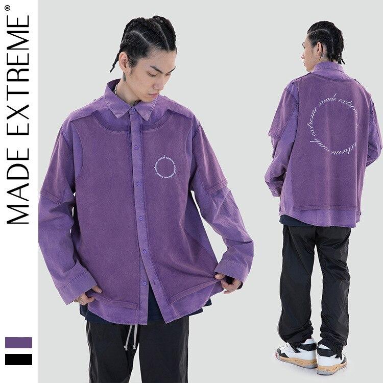 MADEEXTREME كاذبة قطعتين قمصان للرجال الشارع الشهير عالية الشارع المتضخم قميص الملابس الكورية الرجعية خمر قميص LY03