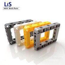 50 pièces/lot Technic carré décortiqueur trou 7x5 trou épais Liftarm Compatible avec logos MOC brique 64179 Technic pièces pour enfants jouets