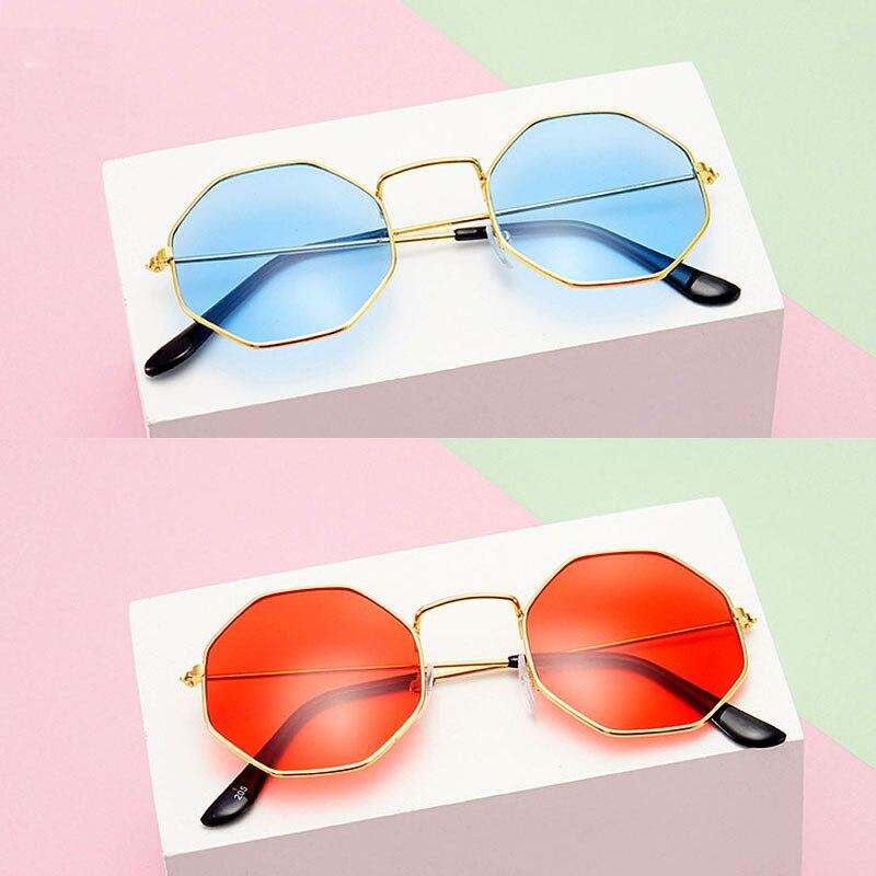 2020 Women Sunglasses Vintage Polygon Metal Eyewear Fashion Brand Designer Anti Blue Light Transpare