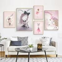 Toile de peinture murale nordique lapin fille rose aquarelle imprimee enfant doux chambre salon affiche photo decor de maison