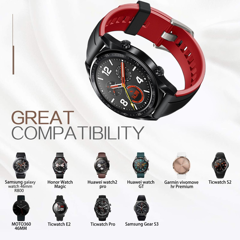 22mm Silicagel for huawei watch gt 2 band 46mm Strap galaxy active HONOR Magic strap Bracelet GT2 Smartwatch Watchband