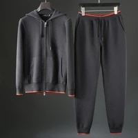 2021 autumn and winter high end wool warm and thick two piece comfortable skin friendly mens knitting leisure sports suit