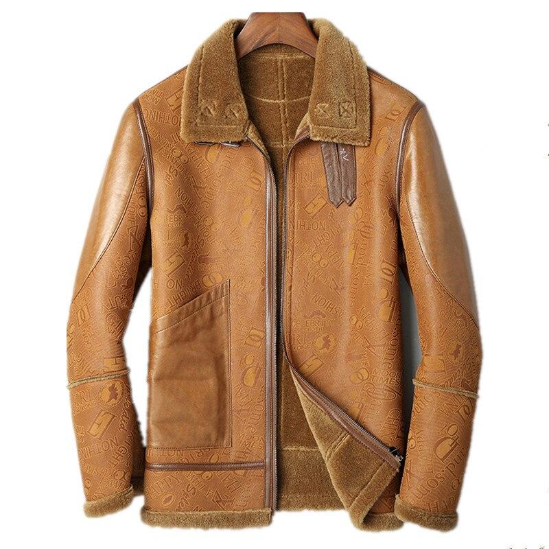 Veste en cuir véritable veste dhiver pour hommes manteau en peau de mouton véritable pour hommes fourrure de laine véritable vestes chaudes grande taille L18-5017 MY1680