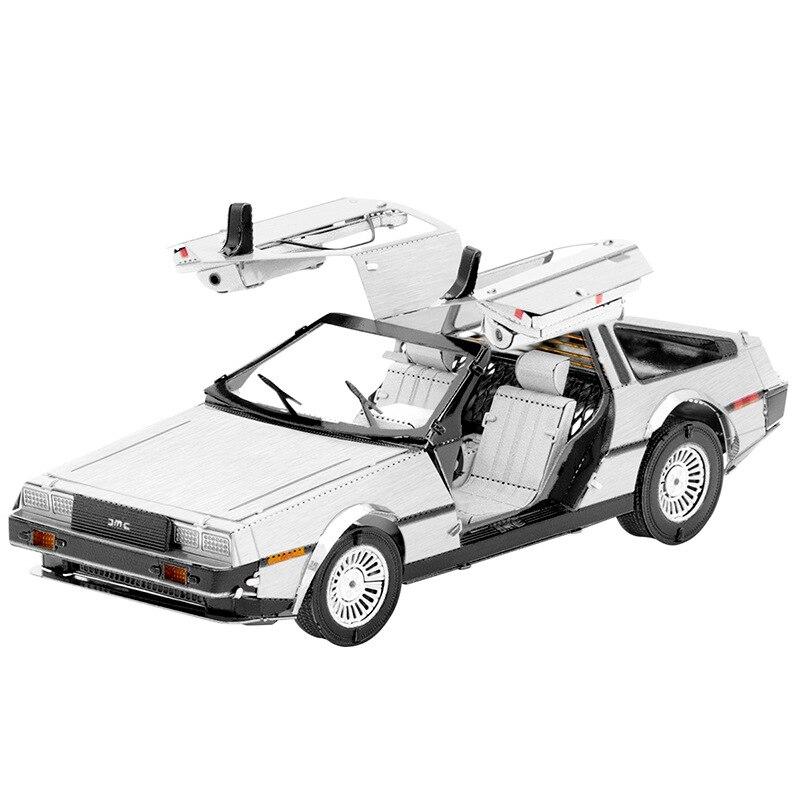 Металлический 3D-пазл DELOREAN, модель автомобиля, наборы для сборки, пазл, Подарочные игрушки для детей
