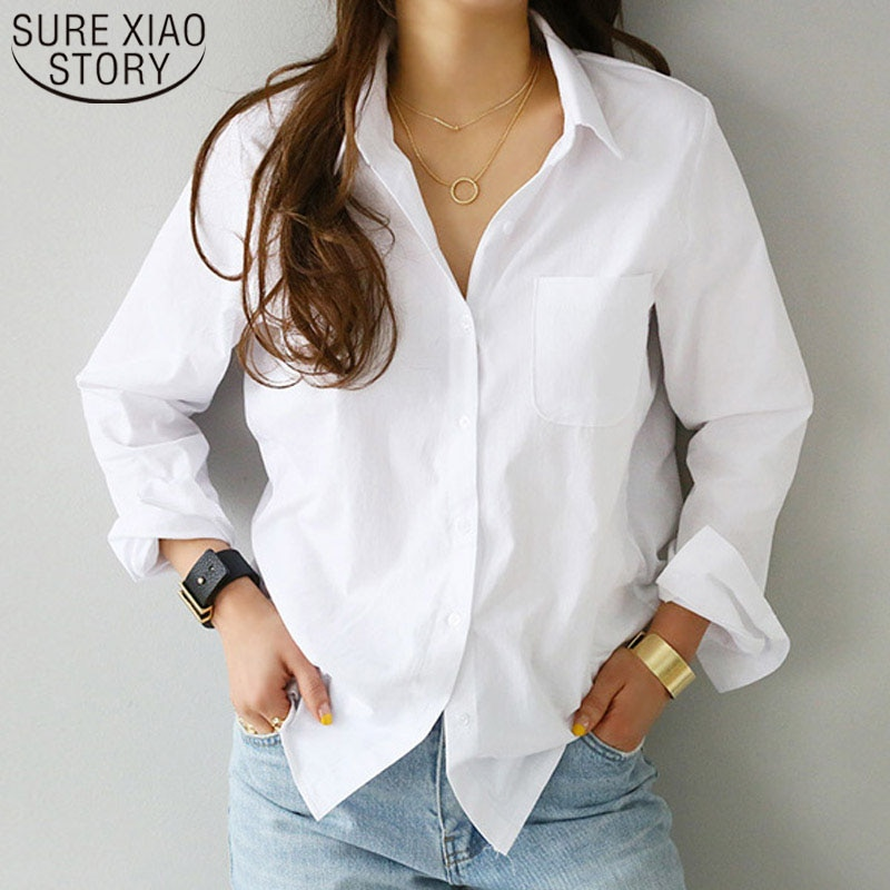 Women Shirts and Blouses 2021 Feminine Blouse Top Long Sleeve Casual White Turn-down Collar OL Style